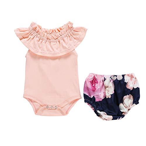 YWLINK Baby Süß Overall Anzug MäDchen RüSchen Kurze ÄRmel Strampler Jumpsuit + Floral Shorts Hosen Outfits Neugeborenes Kleinkind (Rosa,90)