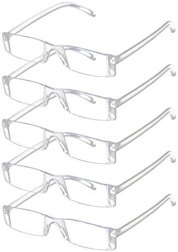 5 Stück Resin (VEVESMUNDO Lesebrille 5 Stück Herren Damen Sehhilfe Transparente Gläser Brille 1.0 1.5 2.0 2.5 3.0 3.5 4.0 (5 Stück Transparente Gläser Brille, 2.5))