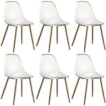 zons lot de 6 chaises plexi transparent en pc 52x46xh84cm - Chaise Plexi Transparente