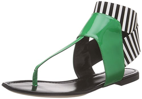 Pollini - San.lod.at Sk5/05 Ver.verd/Ne-bi, Sandali Donna Mehrfarbig (85A GREEN PATENT LEATHER-BLACK-WHITE  STRIPED ELASTIC)
