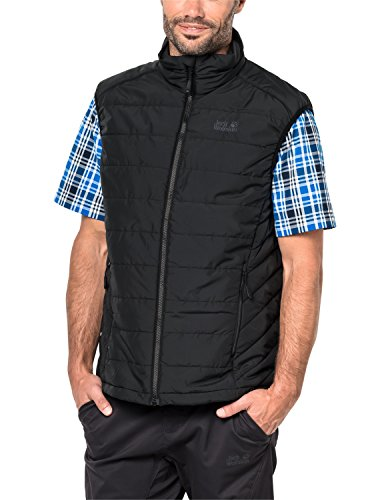 Jack Wolfskin Herren Glen Vest Men Atmungsaktiv Winddicht Outdoor Zip ON-Systemreißverschluss Funktions Weste, Black, XL