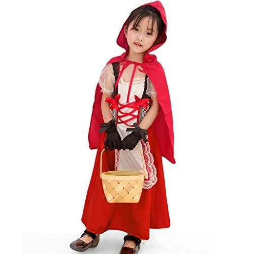 Halloween Carnaval Cosplay Dentelle Princesse Chaperon Deguisement Fille Fille Petit Costume Rouge DAY8 d'anniversaire Robe Cérémonie Noël Fête 345ARLqj