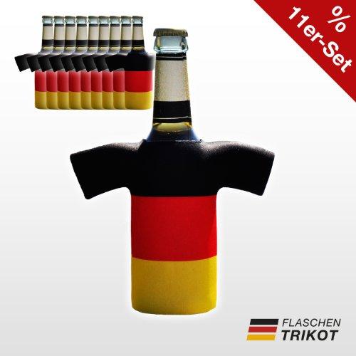 Flaschentrikot Deutschland 11er Set - Flaschenkühler, Bierkühler, Getränkekühler aus Neopren - Fanartikel und Partyspaß zum Grillen, Public Viewing und Feiern