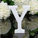 Alaso Décoratif Bois Lettres,26 Alphabet Blanc Lettres en Bois pour Déco Nom des Enfants Fête d'anniversaire de Mariage Décoration de Maison et de Chambre à Coucher...