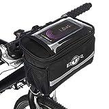 BTR Fahrradlenker-Tasche, mit Karten- und GPS-Halter, mit transparentem PVC-Sichtfenster für Tablet oder Handy