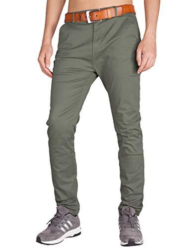 Italy morn uomo pantaloni chino slim marina militare regular fit (34, grigio verde)