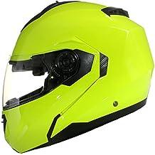 Casco Modular para Motocicleta con Integral Doble Visera - Amarillo - M (57-58cm)