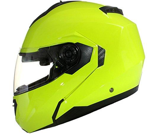 Klapp Motorradhelm mit DOPPELVISIER / Sonnenblende fluoreszierend - Gelb - XL (61-62cm)