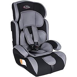 TecTake Silla de coche para niños - Grupos 1/2/3 pesos de 9-36 kg negro/gris