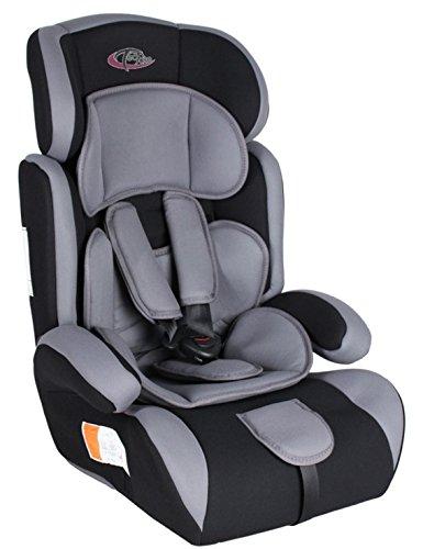 TecTake 400212 - Seggiolino per auto, gruppo I/II/III, 9-36 kg, 1-12 anni, colore: Nero/Grigio