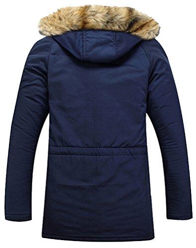 Brinny warm Herren Parka mit Kapuze Wintermantel Funktionsjacke Übergangsjacke Outdoorjacke Jacke Winterjacke Kapuzenjacke Mantel Dunkel Blau