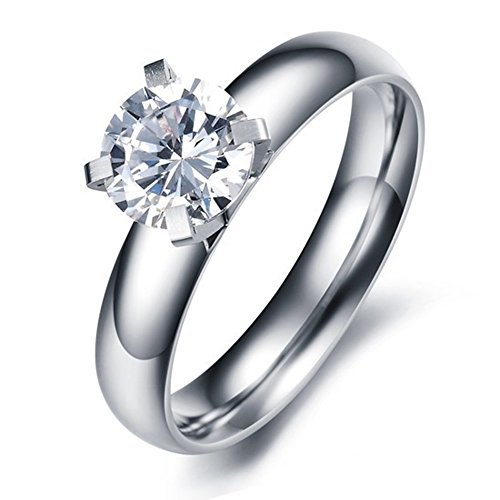 Paialco Jewelry Titan Stahl Solitaire Engagement Ring 1 ct mit Weiß CZ, 6 (Cz 1 Ct Diamant-ring)