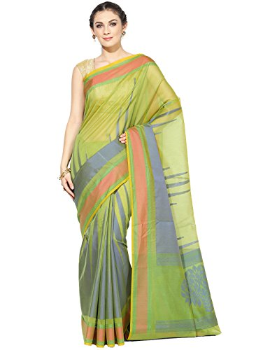 Banarasi Silk Works Supernet Cotton Saree With Blouse Piece(PTE111_Green_Free Size)