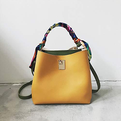 Ldyia Bag weibliche Tasche Hit Farbe Eimer Tasche Volltonfarbe Sperre Schnalle große Tasche große Kapazität Schulter Umhängetasche, gelb