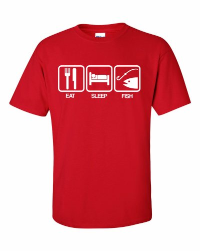 Eat Sleep Fish Fischerei T-Shirt Rot