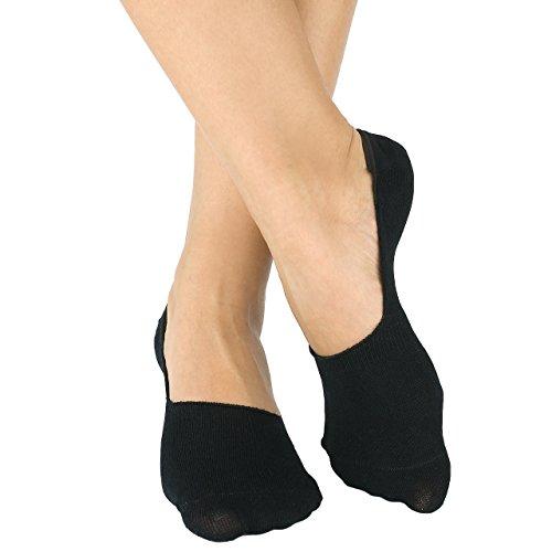 Bambus Füsslinge - Damen und Herren - Sneaker - Kurze Socken - 6 Paar (35-38, Schwarz) -