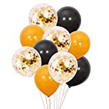 Formemory 60 Pcs Latex Luftballons Schwarz Gold Luftballons Konfetti Luftballons,Golden Folie Konfetti,Party Hochzeit Dekoration,Halloween /Christmas Deko 12 Zoll 2.8g