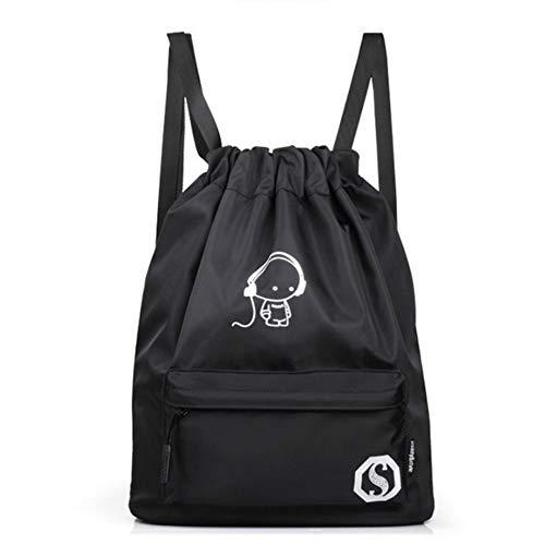 YWLINK Unisex Kordelzug Bundle Pocket Bags Jugendliche Schulrucksack Reisetasche Nachtleuchtend Fluoreszenz Karikatur Drucken Rucksack Einfach Klassisch