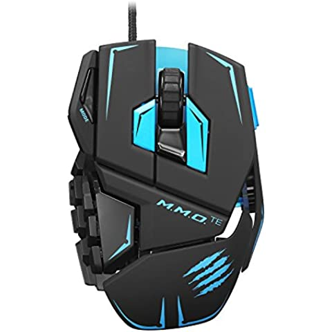Mad Catz - Ratón M.M.O.TE, Windows, negro y azul