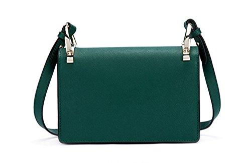 Donne Cuoio Genuino Borsa Prugna Decorazione Singola Spalla Crossbody Bag. Green