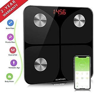 Körperfettwaage Digitale Personenwaage Waage Bluetooth mit APP - Ultraschlanke Körperwaage mit Hochpräzisions-Sensoren und gehärtetem Glas für Körperfett,BMI,Gewicht,Muskelmasse,Wasser,Protein,BM