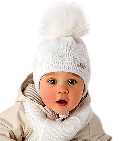 AJS Baby Warme Mädchen Winter Sets Strick Mütze mit Bommel Schal Weiß Rosa Vanille Farbe Rosa