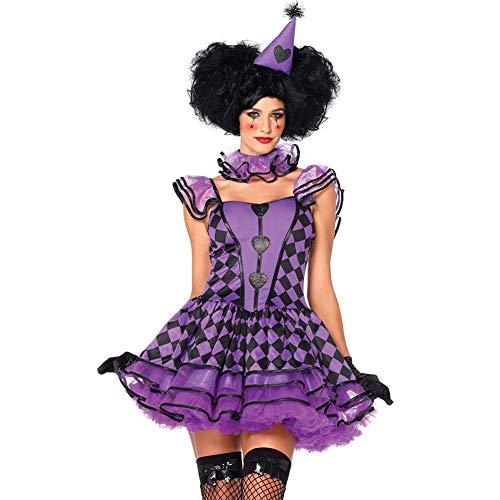 Paofu-costume da clown da donna arlecchino per adulti,costume di carnevale di halloween o di serate a tema,viola,onesize