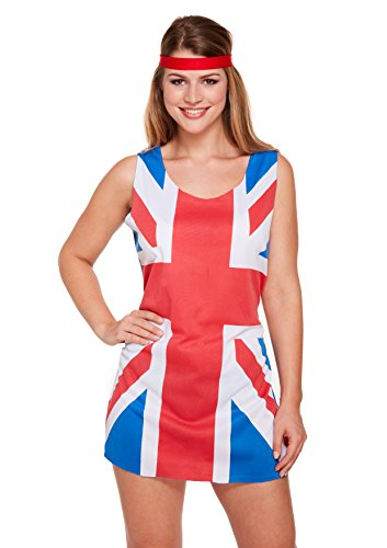 Adult Ladies 90s Union Jack Fancy Dress Costume Ginger Spice Girls Outfit - UK Jack Dress, Sexy Hen Night Party Fancy Dress Costume