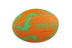 Idea Regalo - Mitre–Sabre, Pallone da Rugby per Allenamento, Uomo, Sabre, Fluorescence Orange/Green, Taglia 3