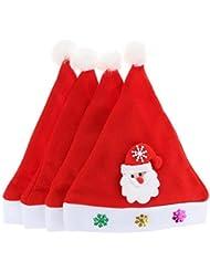 GEMVIE Lot De 4pcs Chapeau Bonnet Santa LED Lumineux Enfant Bébé Noël Fête Déguisement