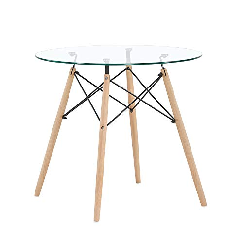 H.J WeDoo Glastisch Tischplatte Runder Esstisch Buchenholz Esszimmer Tisch  Küchentisch Wohnzimmertisch, 80 * 80 * 73 Cm, 4 Beine Natur, Transparent
