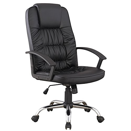 Mobilier Deco Chefsessel schwarz Bürostuhl aus Kunstleder Komfortabler siége Chefsessel King