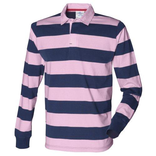 Front Row - Polo Manica Lunga 100% Cotone - Uomo Blu navy/Rosa