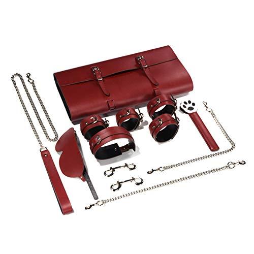 Bondage Set Leder Handfessel 9 Stück Restriktionen Kits Stylish and comfortable für Frauen Paare Männer,Red