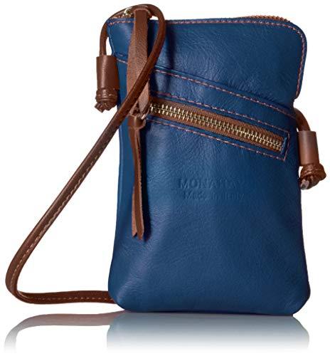 italienische Leder Handy Schultertasche,Handytasche, reisePass Umhängetasche, Kleine Umhängetasche für Damen Mini Sack Mädchen Frauen (Blau/Braun) - Blaue Damen Messenger Bag