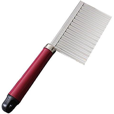 Verduras Slicer cortador cuchillo filo ondulado acero inoxidable cocina Gadget corte pelapapas herramienta de