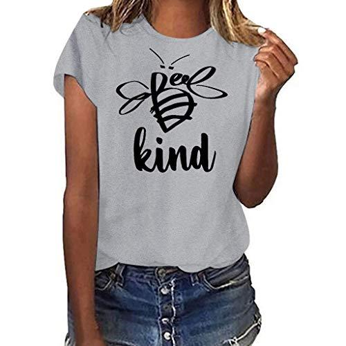 Oyedens Tunika Damen Große Größen Schwarz Weiß, Be Kind Teenager Mädchen T-Shirt Gedruckt Tops Große Größen T-Shirt Kurzarm Shirt to Oberteile Teenager Mädchen Ärmellos
