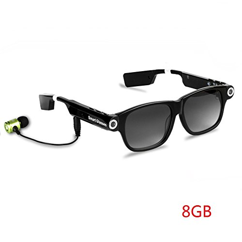 OOZIMO HD 720P Bluetooth Brillen mit Mini-Kamera, DVR-Camcorder Sport Sonnenbrille + Kostenlose SD-Karte, Ein Perfektes Geschenk,A8G