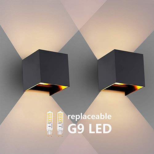 2PCS Moderna Apliques De Pared Blanco Cálido G9 LED OOWOLF, Lampara De Pared Bombillas LED Reemplazables...
