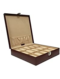 Essart PU Leather Plain Finish Watch Box With Turn Lock Clsoure For Watches , Opaque Feature - Tan