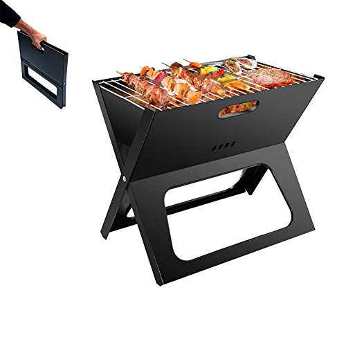 BBQ Grill, Holzkohlegrill Portable, Picknickgrill Outdoor, Tragbarer Klappgrill, Tischgrill Edelstahl, Holzkohle Grill Für BBQ Party Garten Camping Picknick