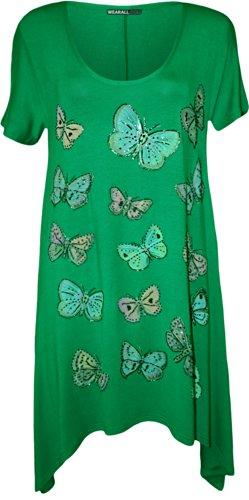 WearAll - Übergröße Damen Schmetterling Druck Kurzarm Taschentusch Saum T-Shirt Top - 7 Farben - Größen 42-56 Grün