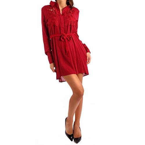 Damen Tunika Tunikakleid Häkelspitze Rot
