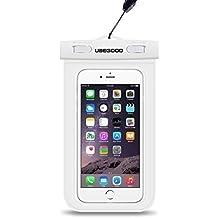 Ubegood Universal Impermeable Bolsa Funda y Brazalete Armband Deportivo Compatible con iPhone SE,iPhone 6/6 plus,iPhone 5,Samsung S5/S6/S7/S7 ,S7 Edge and y otro hasta 5.9 pulgadas Smartphones(Blanco)