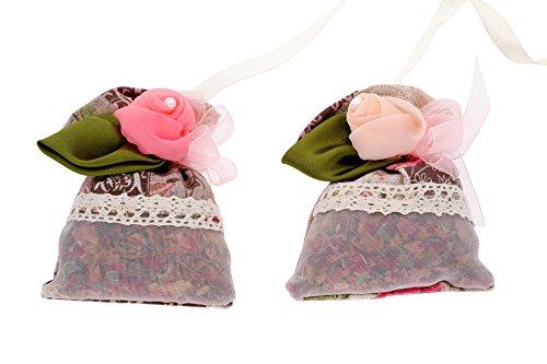 Tradizionale, elegante, deodorante naturale e purificante Bags-Due borse con corde da appendere-Subtle rose profumo odore assorbitore di umidità 100% bambù carbone ipoallergenici