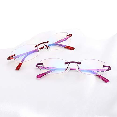 Mode Lesebrille 2 Pack Blaues Licht Blockieren Brille Frühling Scharniere Presbyopie Brillen Ältere Brillen Blendschutz Ergonomisch Erweiterte Computergläser,1.0