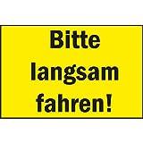 Warnschild Bitte langsam fahren! | 300x200 mm | gelb/schwarz | 1 Stück