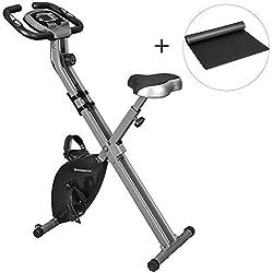 SONGMICS Vélo d'Appartement, Spinning, Biking, Pliable, 8 Niveaux de Résistance Magnétique, Tapis de Sol, Capteur de Fréquence Cardiaque, Support pour Portable, Capacité 100 kg, Noir SXB11BK