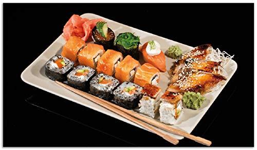 Wallario Herdabdeckplatte/Spritzschutz aus Glas, 1-teilig, 90x52cm, für Ceran- und Induktionsherde, Sushi-Menü mit Inside-Out Sushi, Nigiri und Wasabi