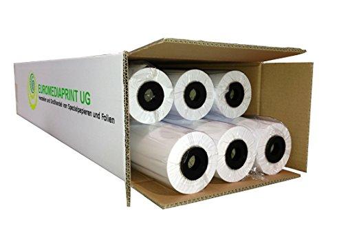 (0,20€/m²) Plotterpapier 6 Rollen ungestrichen | 80gr/m², 91,4cm (914mm) b, 50m l, CAD, unbeschichtet